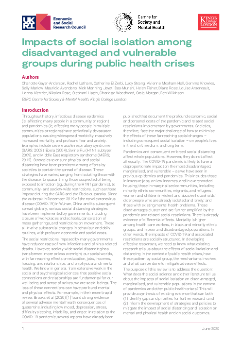 공중 보건 위기 : 사회적 고립이 소외된 취약한 그룹에 미치는 영향 (Impacts of social isolation among disadvantaged and vulnerable groups during public health crises)(2020)