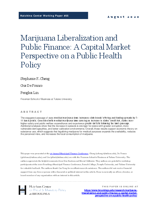 마리화나 자유화 및 공공재정 : 공공보건 정책에 대한 자본시장 관점 (Marijuana liberalization and public finance: A capital market perspective on a public health policy)(2020)