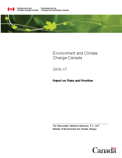 Environment and Climate Change Canada 2016-17 Report on Plans and Priorities
