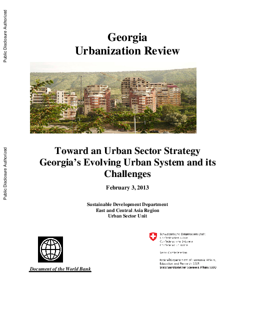 Georgia urbanization review: Toward an urban sector strategy: Georgia's evolving urban system and its challenges