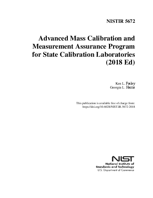 주 교정 실험실 대상 고급 일괄 교정 및 측정 보증 프로그램, 2018년 (Advanced Mass Calibration and Measurement Assurance Program for State Calibration Laboratories (2018 Ed))