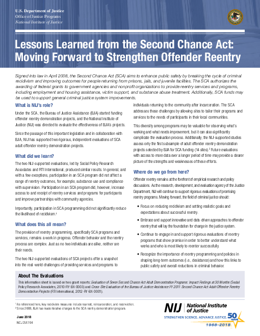 두 번째 기회법이 주는 교훈 : 범죄자 사회 복귀 강화를 위한 전진 (Lessons Learned From the Second Chance Act: Moving Forward To Strengthen Offender Reentry)