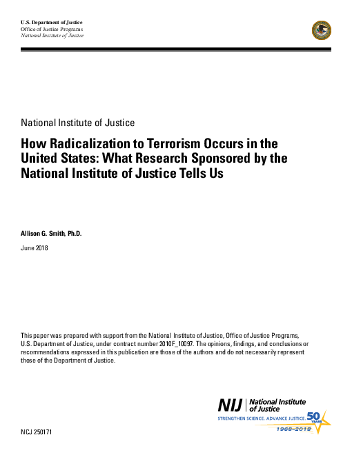미국에서 테러가 급진화하는 방식 : 미법무성사법연구소 후원 연구 결과 (How Radicalization to Terrorism Occurs in the United States: What Research Sponsored by the National Institute of Justice Tells Us)
