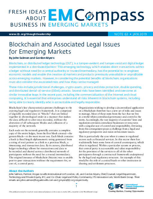 Blockchain and Associated Legal Issues for Emerging Markets