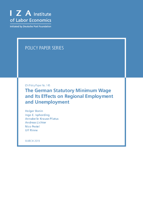 독일 법정 최저 임금이 지역 고용 및 실업에 미치는 영향 (The German Statutory Minimum Wage and Its Effects on Regional Employment and Unemployment)