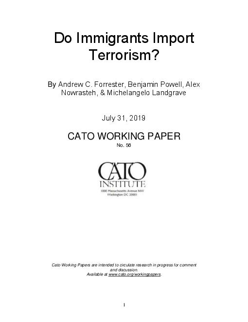 이민으로 인한 테러의 발생 가능성 : 2019년 7월 조사 자료 (Do Immigrants Import Terrorism?)