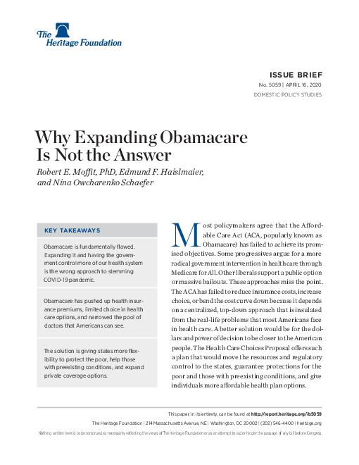 코로나바이러스감염증-19 유행 억제를 위해 오바마케어를 확대하는 것이 답이 아닌 이유 (Why Expanding Obamacare Is Not the Answer) 보고서 표지