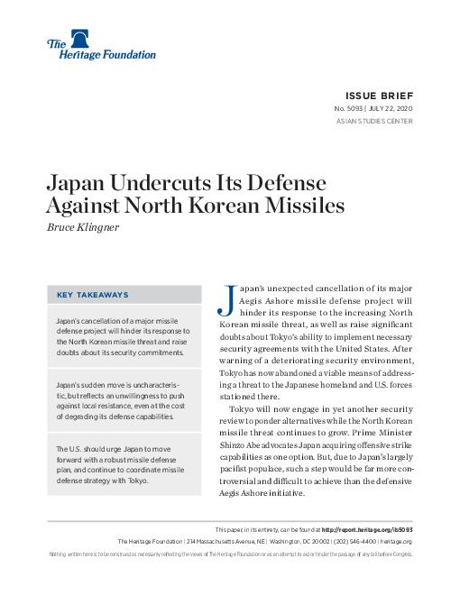 일본, 북한 미사일에 대한 방어력 약화 (Japan Undercuts Its Defense Against North Korean Missiles ) 보고서 표지