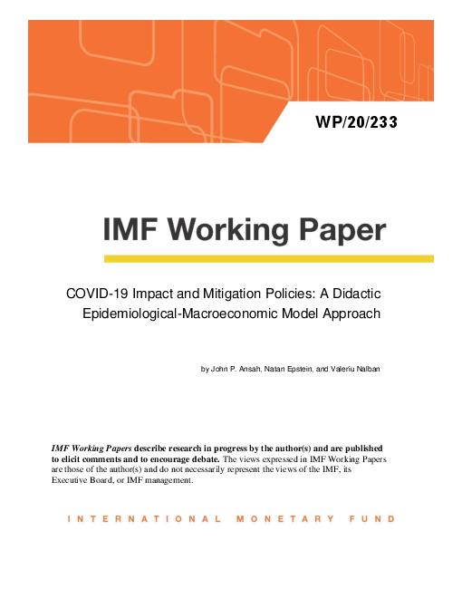 코로나바이러스감염증-19(COVID-19) 영향 및 완화 정책 : 역학 거시경제 모형 접근법 (COVID-19 Impact and Mitigation Policies: A Didactic Epidemiological-Macroeconomic Model Approach) 보고서 표지
