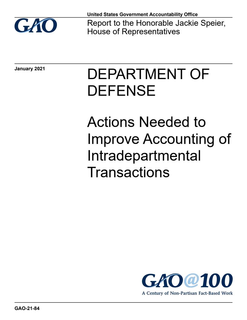 미국국방부(DOD) - 부서간 내부거래 회계처리 개선을 위한 조처 필요 (Department of Defense: Actions Needed to Improve Accounting of Intradepartmental Transactions) 보고서 표지