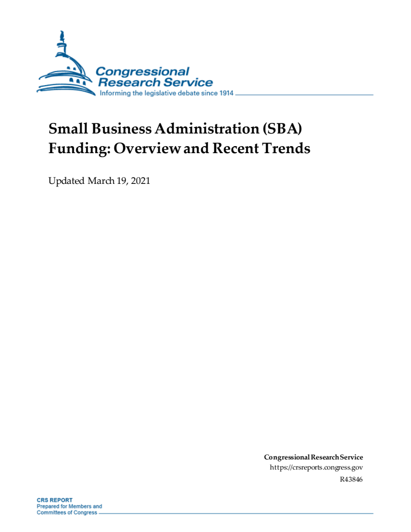 중소기업청(SBA) 예산 개요와 동향 (Small Business Administration (SBA) Funding Overview and Recent Trends) 보고서 표지