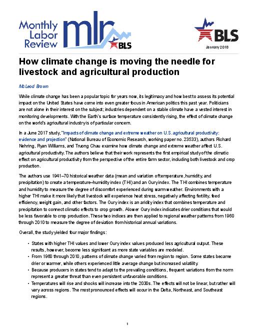 기후변화가 축산업과 농작물 생산성에 미치는 영향에 관하여 (How climate change is moving the needle for livestock and agricultural production)