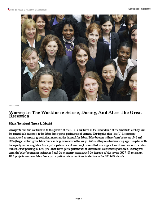 Women In The Workforce Before, During, And After The Great Recession