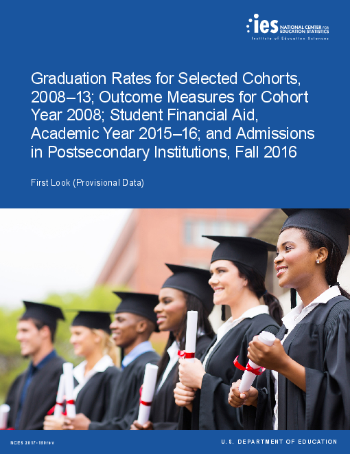Graduation Rates for Selected Cohorts, 2008–13; Outcome Measures for Cohort Year 2008; Student Financial Aid, Academic Year 2015–16; and Admissions in Postsecondary Institutions, Fall 2016
