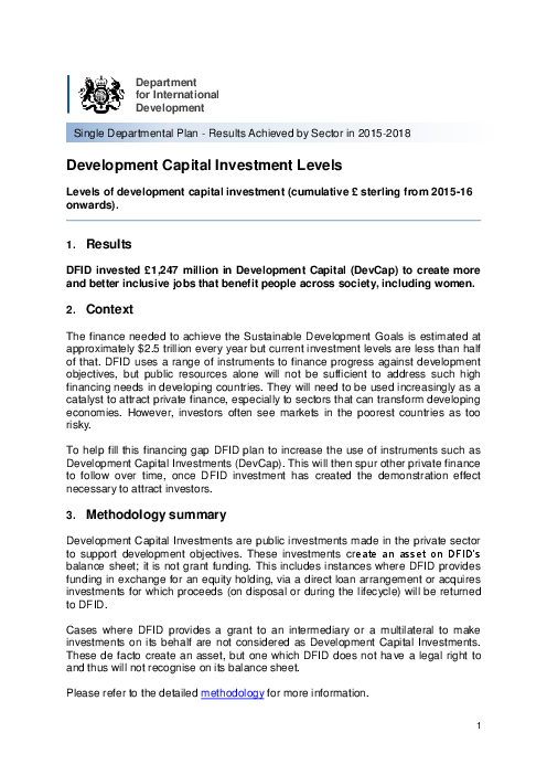 DFID results: Development Capital Investment Levels