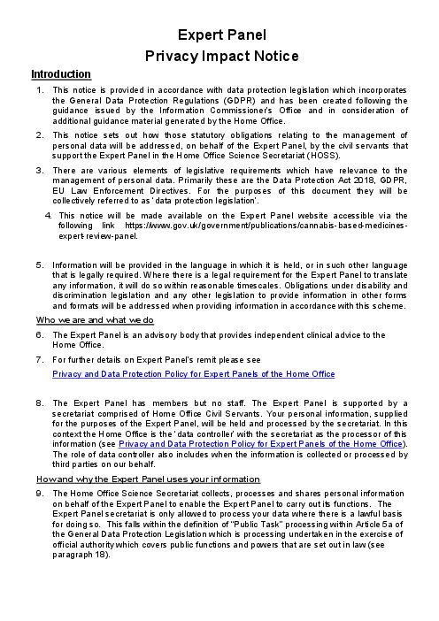 Expert Panel: Privacy Impact Notice