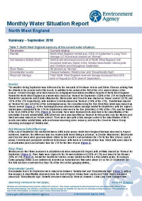 2018년 9월 지역 수질보고서 : 영국 북서지역 (Monthly water situation report: North West Area)