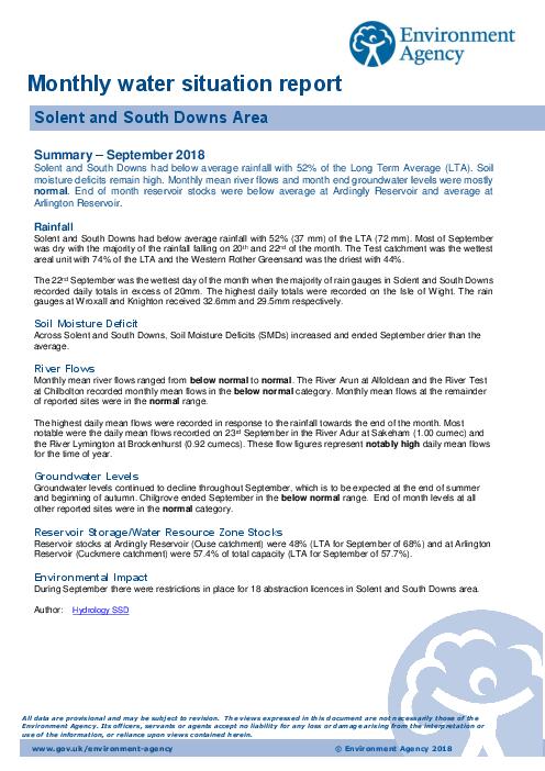 2018년 9월 지역 수질보고서 : 영국 솔렌트와 사우스 다운스 지역 (Monthly water situation report: Solent and South Downs Area)
