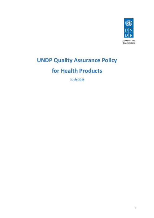 UNDP Quality Assurance Policy for Health Products