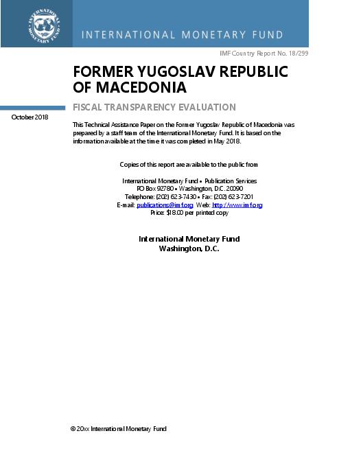 Former Yugoslav Republic of Macedonia: Fiscal Transparency Evaluation