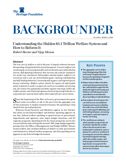 """Understanding the Hidden $1.1 Trillion <span class=""""accent"""">Welfare</span> System and How to Reform It"""