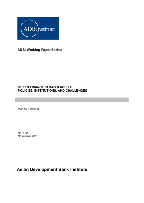 Green Finance in Bangladesh: Policies, Institutions, and Challenges