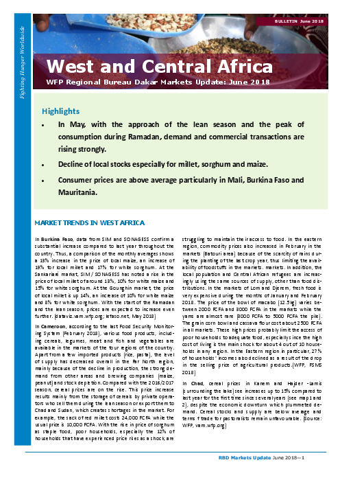 West and Central Africa: WFP Regional Markets Update, June 2018