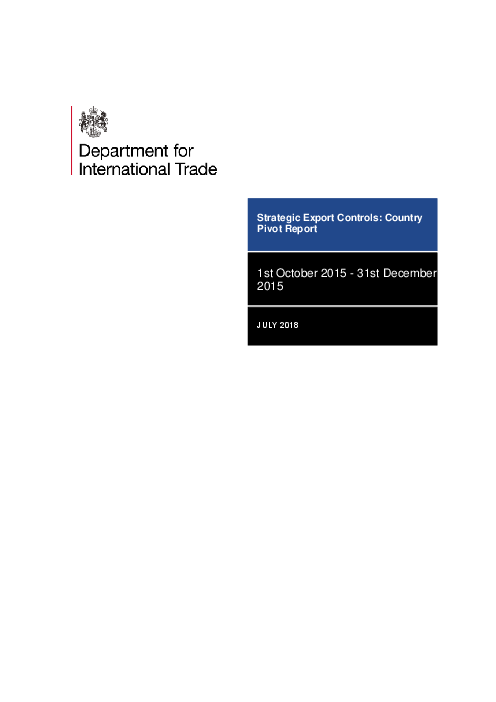 Strategic Export Controls: Country Pivot Report: 1st October 2015 - 31st December 2015