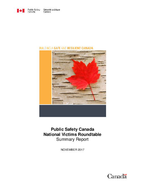 Public Safety Canada National Victims Roundtable: Summary Report