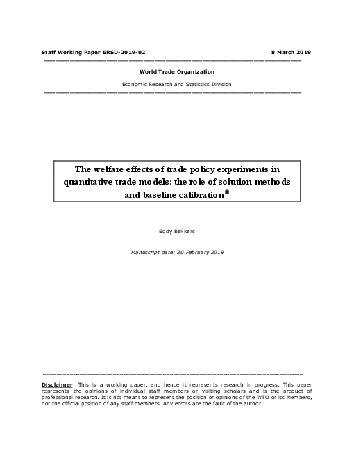 """The <span class=""""accent"""">welfare</span> effects of trade policy experiments in quantitative trade models: the role of solution methods and baseline calibration"""