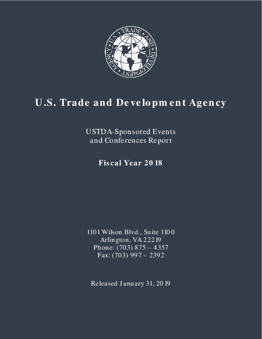 USTDA-Sponsored Events and Conferences Report: Fiscal Year 2018