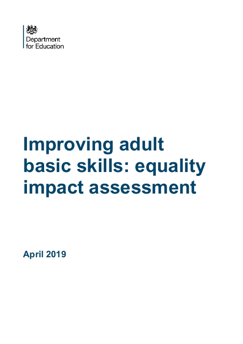 Improving adult basic skills: equality impact assessment