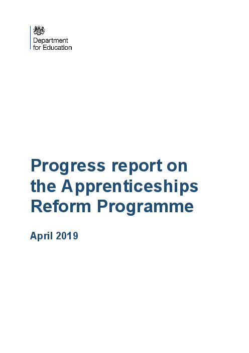도제제도 개혁 프로그램에 대한 진행 보고서 (Progress report on the Apprenticeships Reform Programme)
