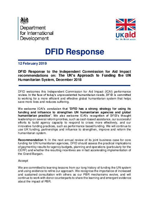 DFID Response to the Independent Commission for Aid Impact recommendations on: The UK's Approach to Funding the UN Humanitarian System, December 2018