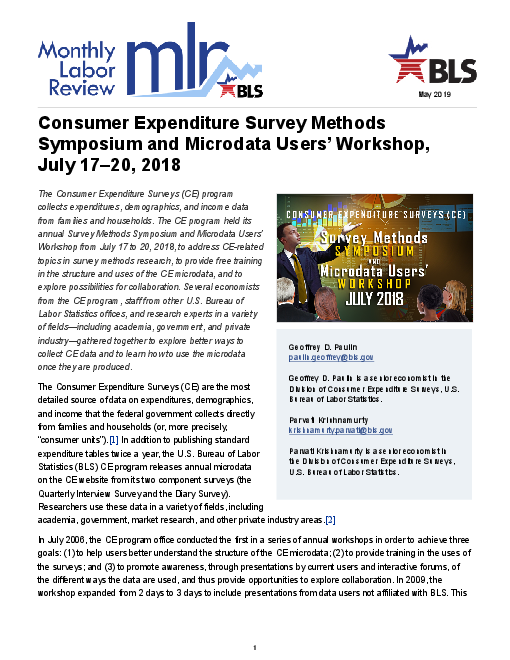 Consumer Expenditure Survey Methods Symposium and Microdata Users' Workshop, July 17–20, 2018