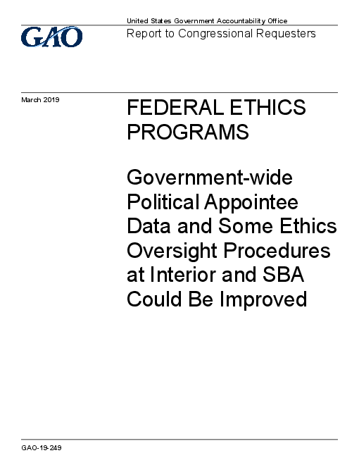 Federal Ethics Programs: Government-wide Political Appointee Data and Some Ethics Oversight Procedures at Interior and SBA Could Be Improved