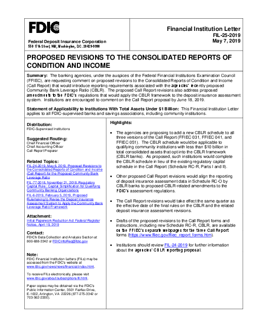 Proposed Revisions to the Consolidated Reports of Condition and Income