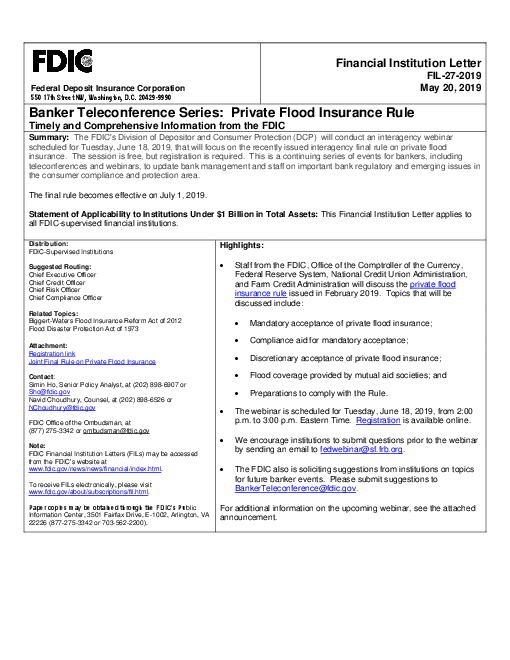 Banker Teleconference Series: Private Flood Insurance Rule: Timely and Comprehensive Information from the FDIC