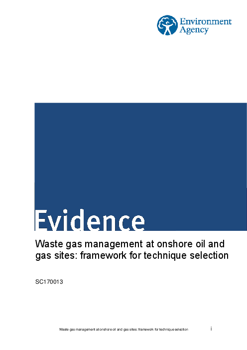 Waste gas management at onshore oil and gas sites: framework for technique selection