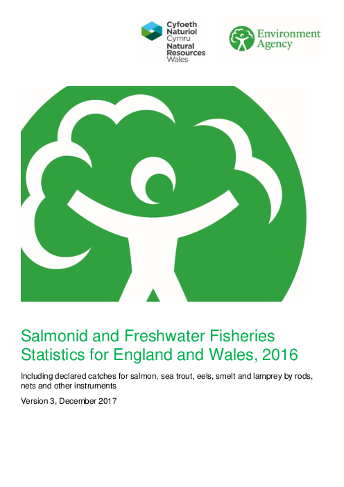 Salmonid and Freshwater Fisheries Statistics for England and Wales, 2016