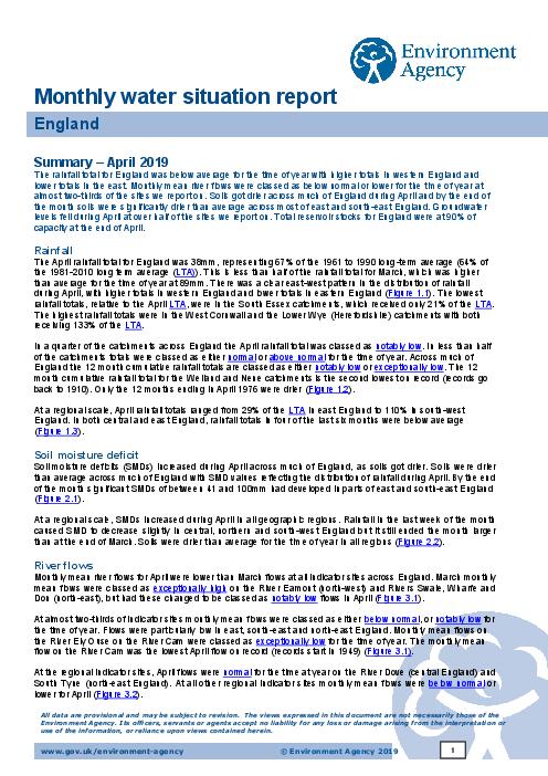 2019년 4월 수질 보고서 (Monthly water situation report: April2019)