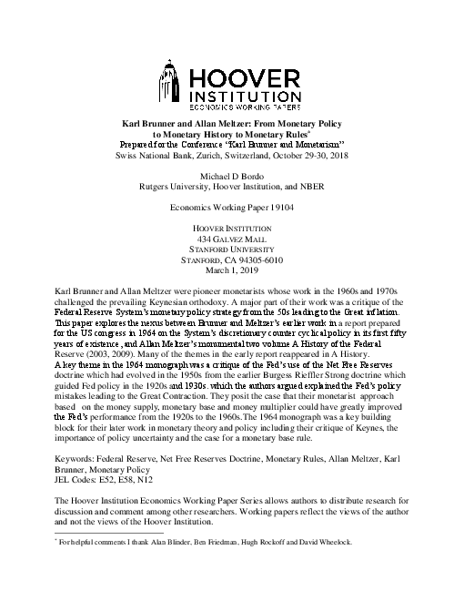 Karl Brunner and Allan Meltzer: From Monetary Policy to Monetary History to Monetary Rules