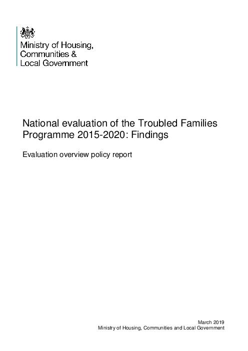 National evaluation of the Troubled Families Programme 2015-2020: Findings: Evaluation overview policy report