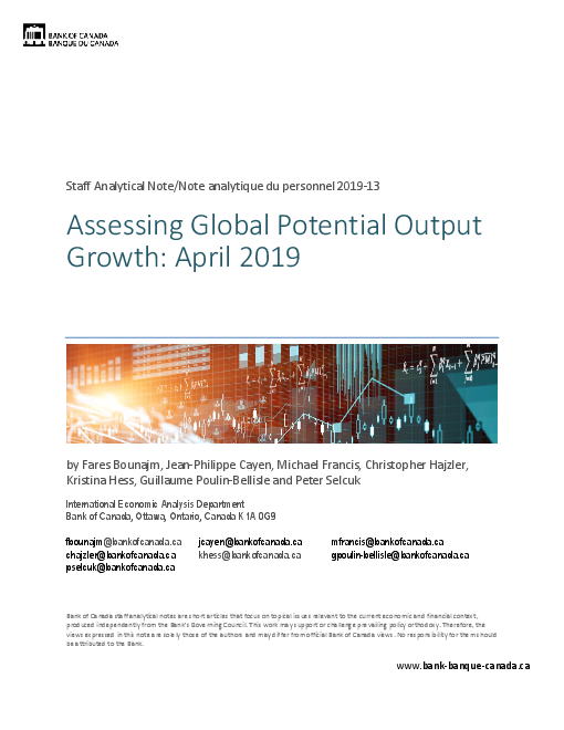 Assessing Global Potential Output Growth: April 2019