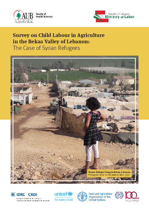 Survey on Child Labour in Agriculture in the Bekaa Valley of Lebanon: The Case of Syrian Refugees