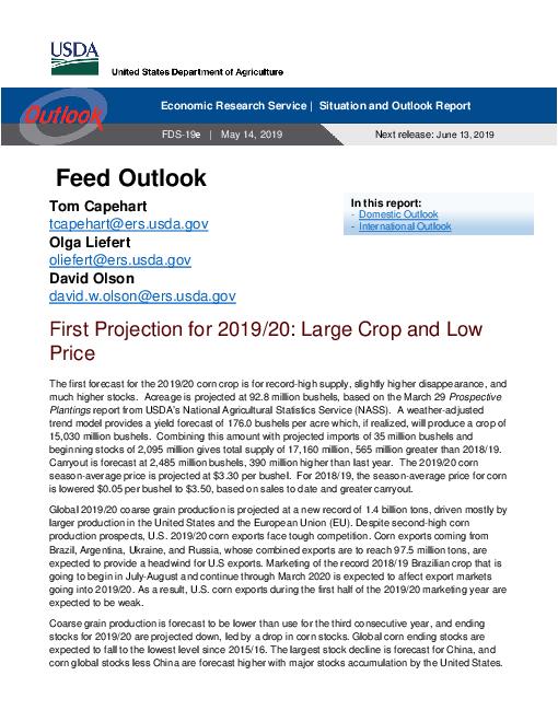사료 전망 : 2019년 5월 (Feed Outlook, May 2019)
