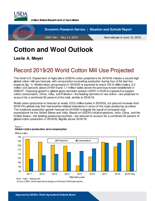 면화 및 양모 전망 : 2019년 5월 (Cotton and Wool Outlook, May 2019)