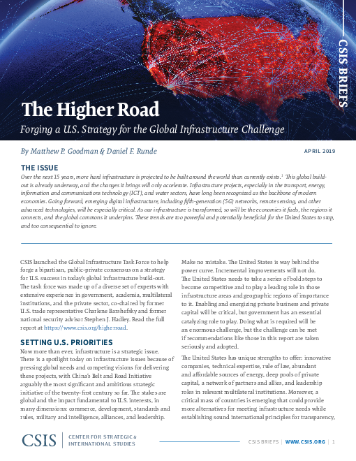 The Higher Road: Forging a U.S. Strategy for the Global Infrastructure Challenge