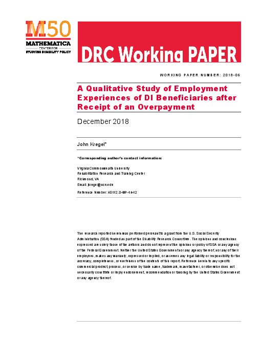 A Qualitative Study of Employment Experiences of DI Beneficiaries after Receipt of an Overpayment