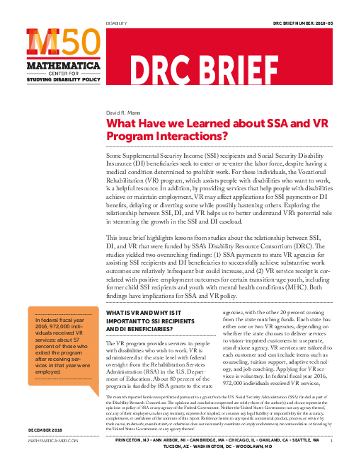What Have we Learned about SSA and VR Program Interactions?